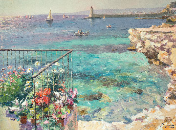 Balcony Facing Nice Lighthouse 38x48 Super Huge Original Painting - Pierre Bittar