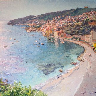 An Overlook of the City of Villefranche 55x55 Super Huge Original Painting - Pierre Bittar
