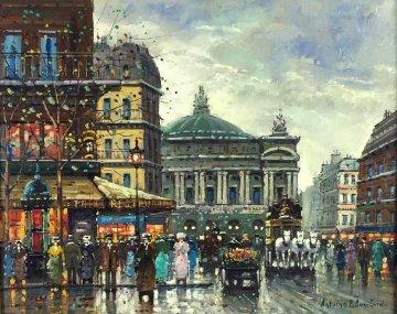Place De l'opera  28x32 Original Painting - Antoine Blanchard