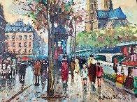 Bouquinistes De Notre-dame 9x11 Paris Original Painting by Antoine Blanchard - 0