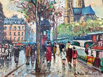 Bouquinistes De Notre-dame 9x11 Paris Original Painting - Antoine Blanchard