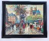 Bouquinistes De Notre-dame 9x11 Paris Original Painting by Antoine Blanchard - 1