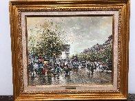 Arc De Triomphe Et Les Champs a Lysees a Paris 1900 24x19 Original Painting by Antoine Blanchard - 1