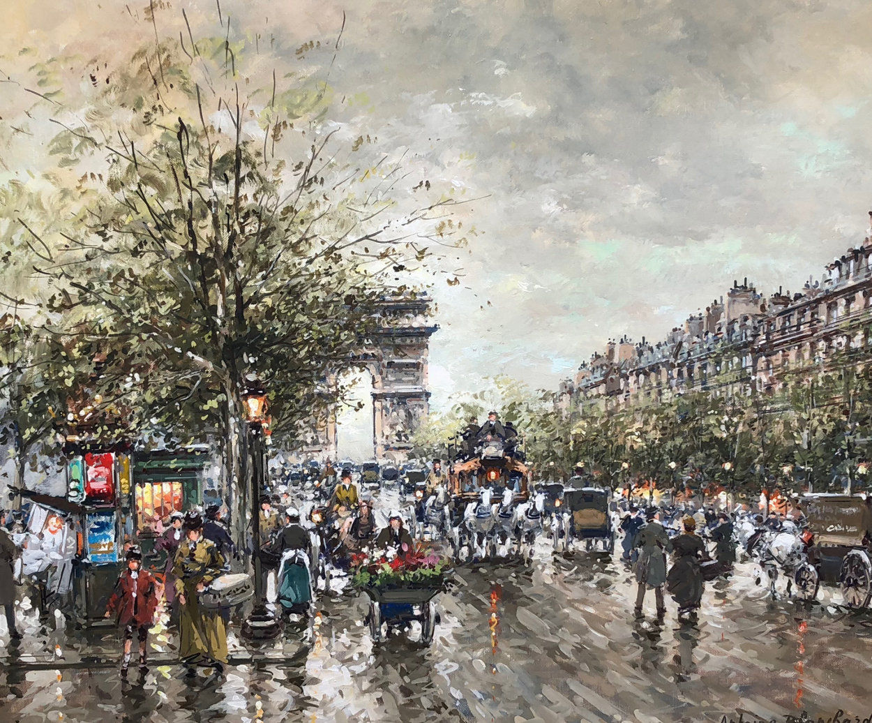 Arc De Triomphe Et Les Champs a Lysees a Paris 1900 24x19 Original Painting by Antoine Blanchard