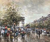 Arc De Triomphe Et Les Champs a Lysees a Paris 1900 24x19 Original Painting by Antoine Blanchard - 0