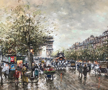 Arc De Triomphe Et Les Champs a Lysees a Paris 1990 24x19 Original Painting - Antoine Blanchard