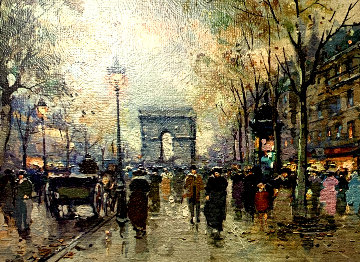View of Arc De Triomphe From the Champs-Elysees 1950 13x11 Original Painting - Antoine Blanchard