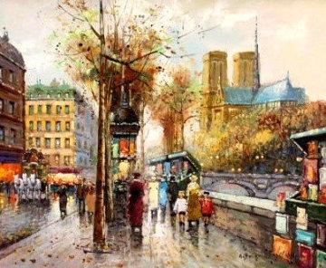 Paris Street Scene 27x28 Original Painting - Antoine Blanchard