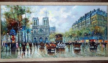 Paris Street Scene - Notre Dame 38x23 Original Painting - Antoine Blanchard