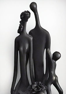 Family With Bouquet Bronze Wall Sculpture Unique 13 in Sculpture - Ruth Bloch