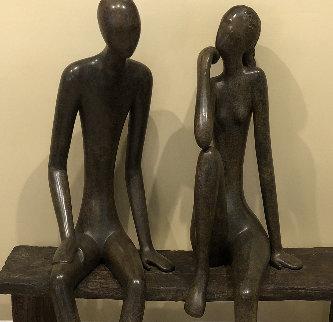 Couple on Bench Unique  Bronze Sculpture  54 in Sculpture - Ruth Bloch