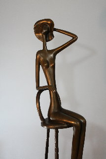 Woman on Stool Bronze Sculpture 52 in Sculpture by Ruth Bloch