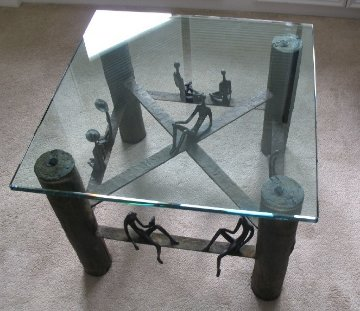 Untitled Bronze Coffee Table Unique 2008 19x24 Sculpture - Ruth Bloch