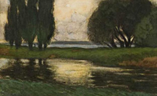Romantic Landscape Watercolor 17x22 by Oscar Florianus Bluemner