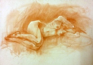 Nude Female 2 1987 Pastel 19x25 Works on Paper (not prints) - Toby Bluth