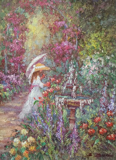 By the Fountain 23x19 Original Painting by Bela Bodo