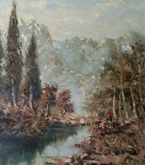Untitled Landscape 40x35 Super Huge Original Painting - Bela Bodo