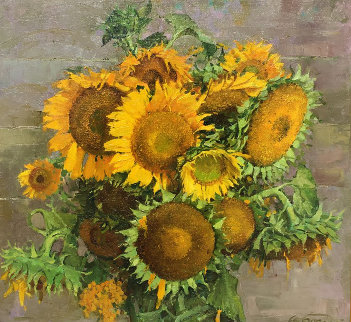 Sunflowers 1999 27x29 Original Painting - Andrei Bogachev