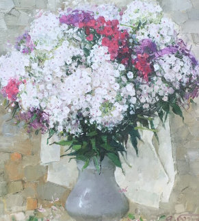 Red And White Bouquet 25x23 Original Painting - Andrei Bogachev