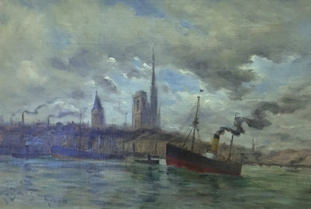 Harbor At Rouen 1900 15x22 Original Painting by Frank Myers Boggs