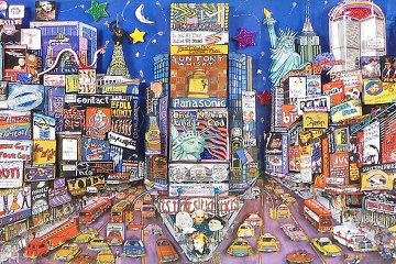 New York Red White And Blue Embellished Limited Edition Print by Shari Hatchett Bohlmann