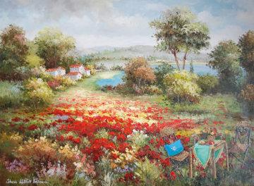 Joyful Afternoon 2006 50x62 Original Painting - Sharie Hatchett Bohlmann