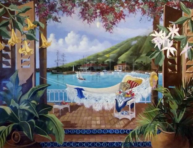 Champagne Wishes 1991 Pioneer Inn Maui 36x48 Hawaii Original Painting by Sharie Hatchett Bohlmann