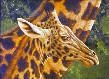 Young Giraffe 2010 25x21 Original Painting - Andrew Bone