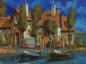 Azzurro 2005 27x31 Original Painting - Guido Borelli