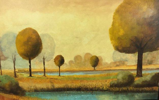 DI Qua E Di La Dell' Acqua 2015 19x30 Original Painting by Guido Borelli