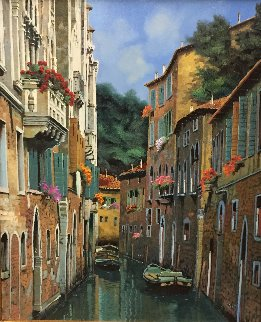 Barche All 'Ormeggio 2015 35x31 Original Painting - Guido Borelli