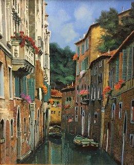 Barche All 'Ormeggio 2015 35x31 Original Painting by Guido Borelli