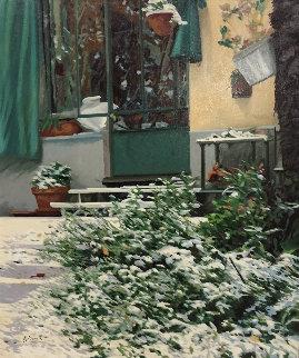 La Neve a Casa 2010 34x30 Original Painting - Guido Borelli