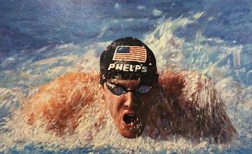 Michael Phelps 29x38 Original Painting - Guido Borelli