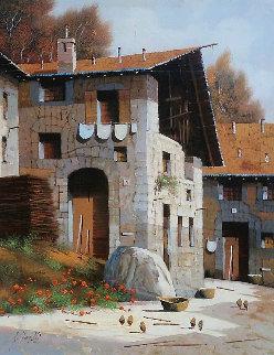 Hens 1991 21x17 Original Painting - Guido Borelli