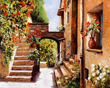 Stradina Di Cagnes 19x22 Original Painting by Guido Borelli