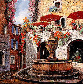 La Fontana a St. Paul 22x22 Original Painting - Guido Borelli