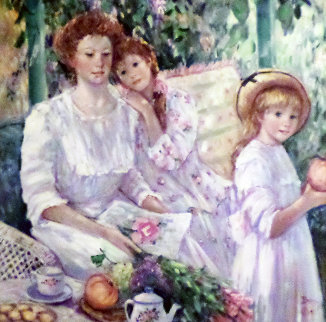 Mother With Two Daughters 1991 46x46 Super Huge Original Painting - Irene Borg