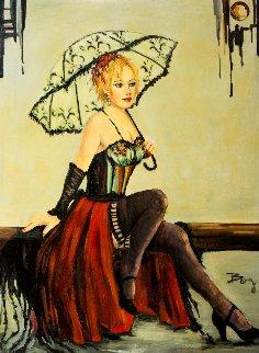 Untitled Portrait of a Woman 2015 36x48 Super Huge Original Painting - Irene Borg