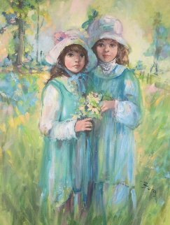 Untitled Little Girls 1980 42x32 Original Painting by Irene Borg
