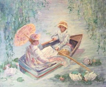 Apres-midi En Bateau 1985 25x29 Original Painting - Irene Borg