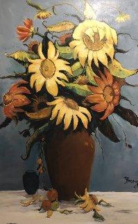 Sunflower 40x60 Super Huge Original Painting - Irene Borg