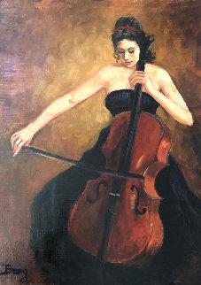 Untitled (Cellist) 36x24 Original Painting - Irene Borg