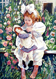 Untitled - Little Girl With Doll 1990 Limited Edition Print - Irene Borg