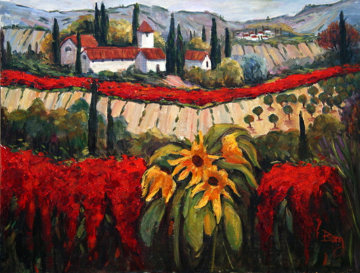 Tuscan Village Original Painting - Irene Borg