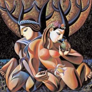 Temptation 50x50 Original Painting - Misha Borisoff