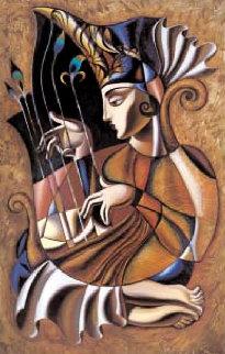 Beautiful Harp 58x40 Original Painting by Misha Borisoff