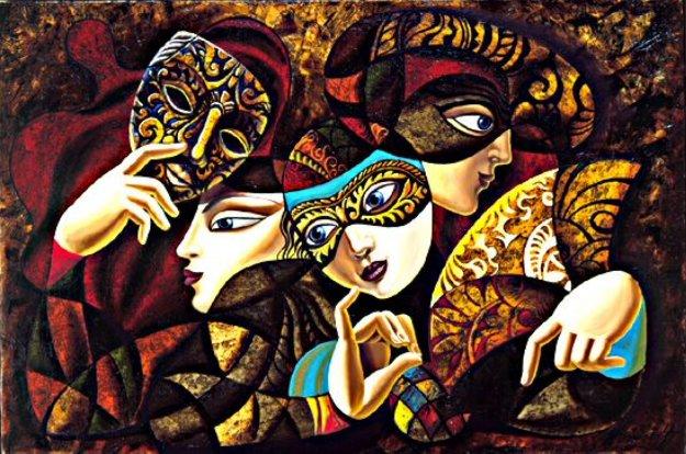 Mask Ball 24x36 Original Painting by Misha Borisoff
