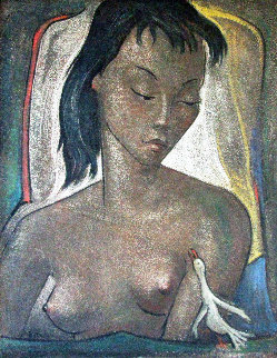 Woman With White Bird  1950 34x30 Original Painting - Angel Botello
