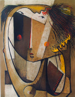 Girl Combing Hair Lithograph AP Limited Edition Print - Angel Botello